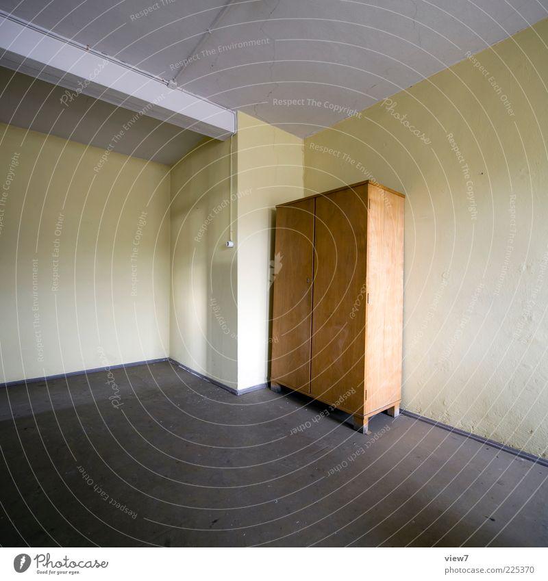 Archiv Umzug (Wohnungswechsel) einrichten Innenarchitektur Möbel Tapete Raum Beton Holz alt einfach braun Ordnung stagnierend Stimmung Vergangenheit Schrank
