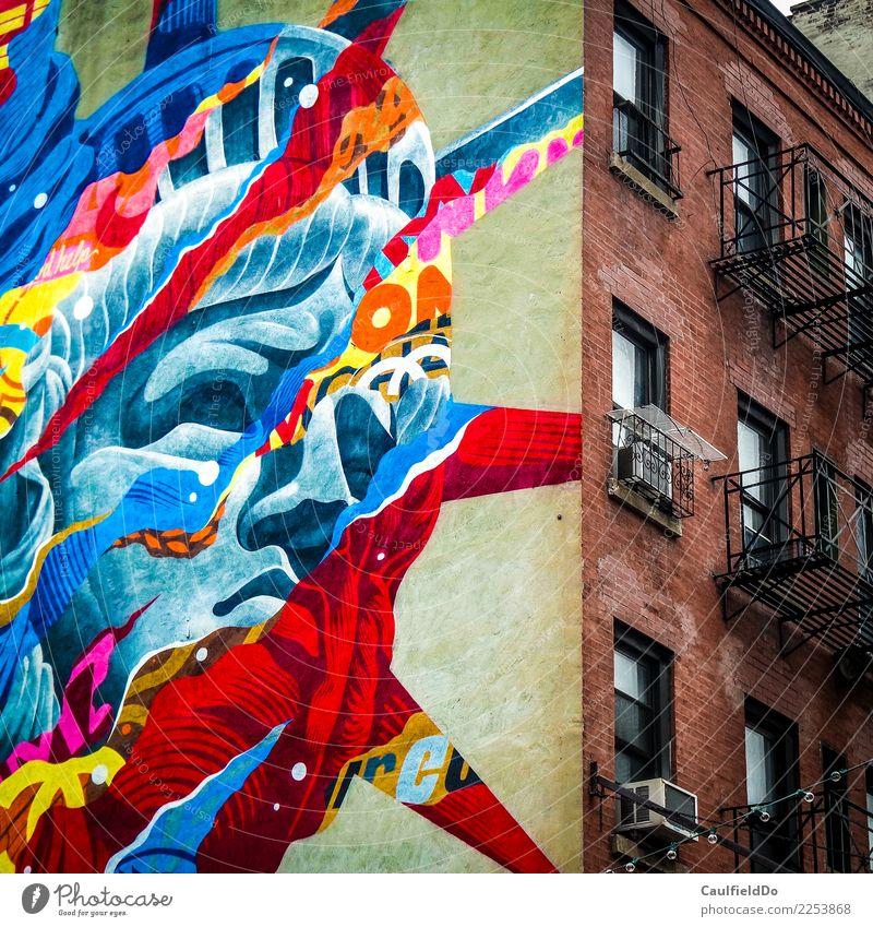 Liberty City Ferien & Urlaub & Reisen blau rot Haus Ferne Architektur Gebäude Kunst Tourismus Freiheit Wohnung Abenteuer USA Coolness Beton entdecken