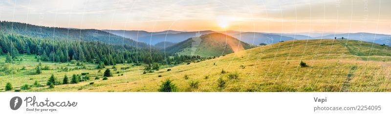 Panorama des Sonnenuntergangs in den Bergen Himmel Natur Ferien & Urlaub & Reisen Pflanze blau Sommer Farbe schön grün weiß Landschaft Baum rot Wolken Ferne