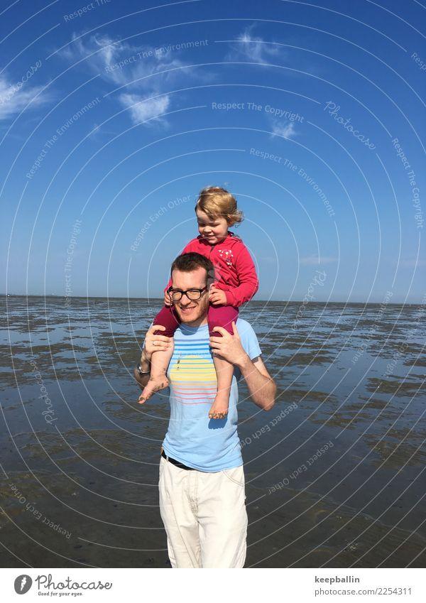li_007 Kind Mensch Ferien & Urlaub & Reisen Mann Sommer Landschaft Meer Mädchen Erwachsene Küste Tourismus Freiheit Zusammensein Sand Ausflug gehen