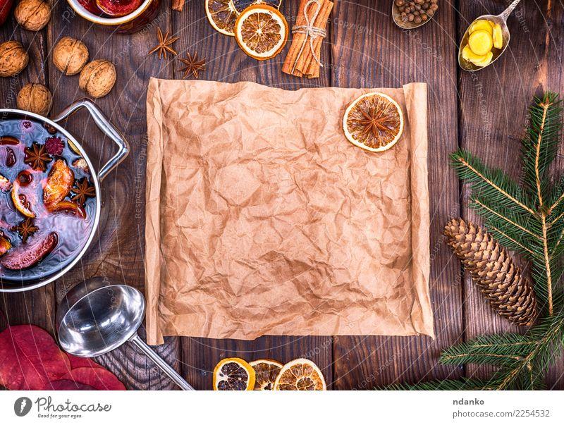 Weihnachten & Advent Speise gelb Holz braun oben retro Tisch Papier Kräuter & Gewürze Getränk heiß Silvester u. Neujahr Essen zubereiten Alkohol Verschiedenheit