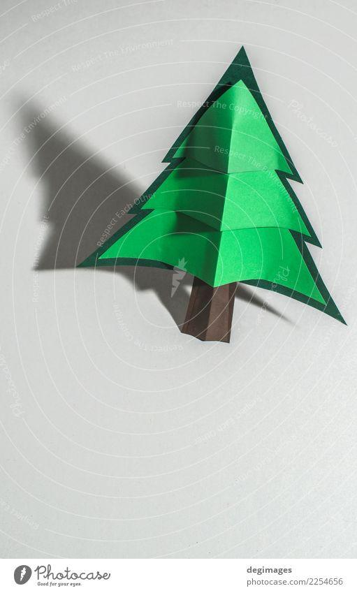 Weihnachtskiefer gemacht vom Papier auf Papier Design Winter Dekoration & Verzierung Feste & Feiern Weihnachten & Advent Kunst Baum Ornament neu grün weiß