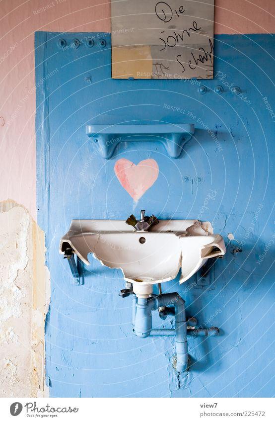 lovely alt blau schön rosa Herz dreckig modern ästhetisch Schriftzeichen Fröhlichkeit authentisch Dekoration & Verzierung kaputt Vergänglichkeit Bad einfach