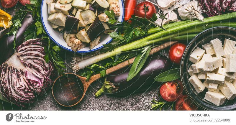 Vegetarische Kochzutaten Gesunde Ernährung Foodfotografie Stil Lebensmittel Design Tisch Kräuter & Gewürze Gemüse Bioprodukte Restaurant Geschirr