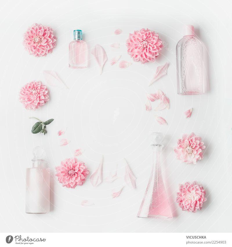 Pastellrosa Kosmetic Flachen mit Blumen Stil Design schön Körperpflege Kosmetik Parfum Gesundheit Wellness Spa Rose Dekoration & Verzierung Ornament