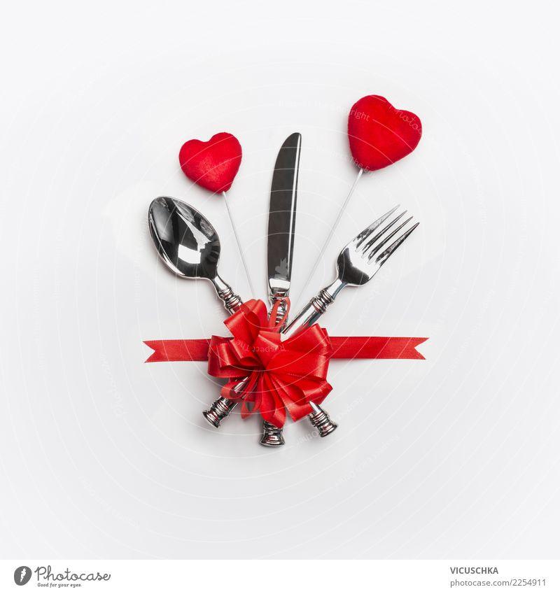 Festliche Tischgedeck für Valentinstag Festessen Besteck Stil Design Dekoration & Verzierung Party Veranstaltung Restaurant Feste & Feiern Hochzeit Zeichen