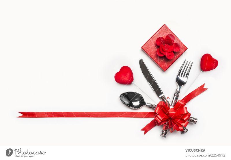 Valentinstag Tischgedeck rot Freude Liebe Stil Feste & Feiern Party Design Dekoration & Verzierung Herz Geschenk Zeichen Veranstaltung Restaurant Tradition