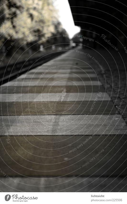 Bahnsteigkante Menschenleer Bahnhof braun grau schwarz Angst gefährlich Perspektive stagnierend Surrealismus gestreift Beton S-Bahn Gleise Pflastersteine