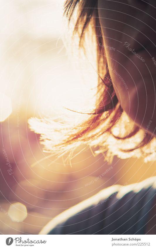 Anschnitt Gesicht und Haare Mensch feminin Junge Frau Jugendliche Kopf Haare & Frisuren 1 blond rothaarig genießen leuchten ästhetisch natürlich gelb gold rosa