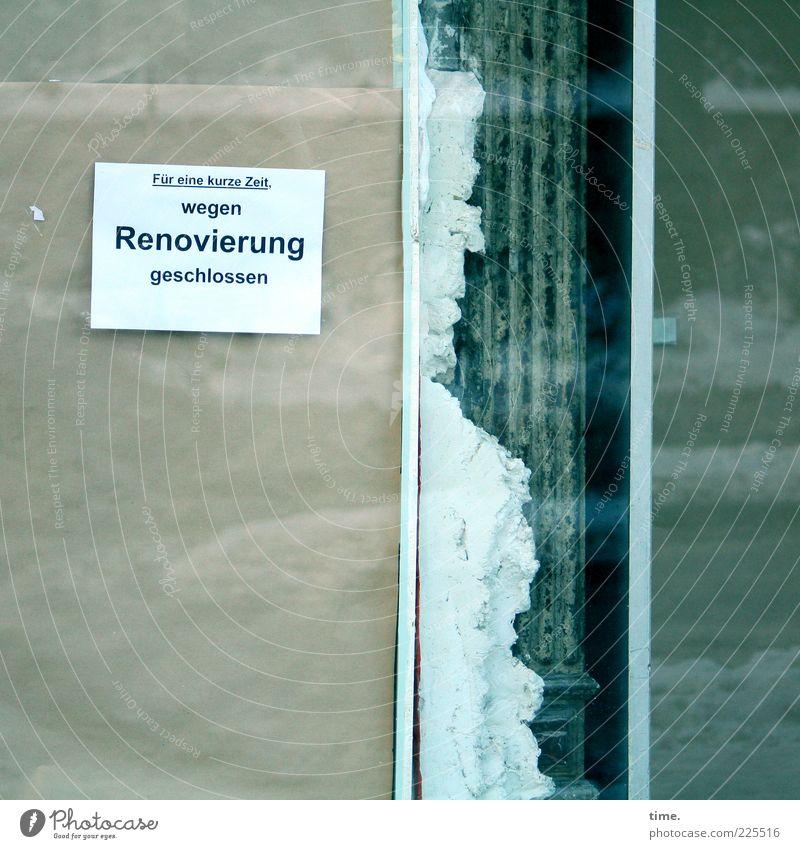 Die Tiefe des Raumes Winter Schnee Baustelle Papier Schilder & Markierungen frieren kalt kaputt zyan Fensterscheibe Glasscheibe Glasfassade Karton Hinweis