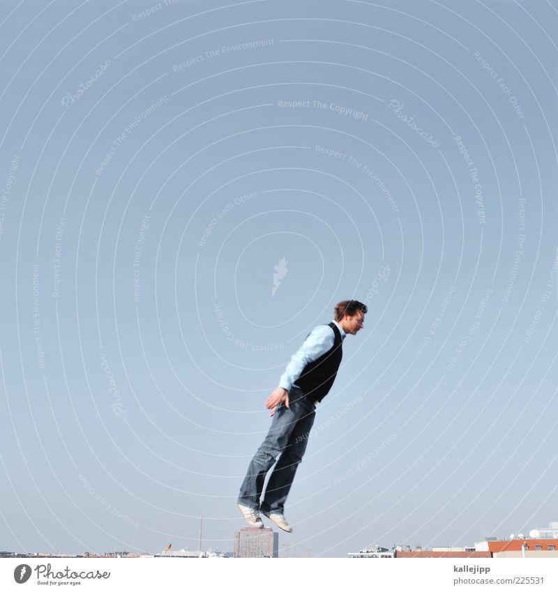 a walk on the wild side Mensch Mann Erwachsene 1 Dach Hemd Hose Pullover Turnschuh fliegen springen Beginn Farbfoto mehrfarbig Außenaufnahme Textfreiraum links