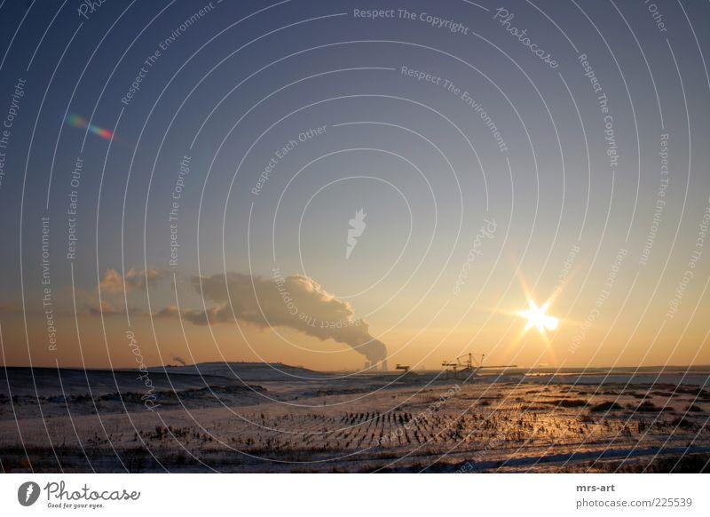 Tagebau Zwenkau II Sonne Winter Ferne Umwelt Landschaft Erde Feld Energie Klima Energiewirtschaft Industrie Urelemente Rauch Klimawandel Bagger Blendenfleck