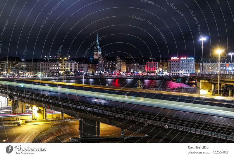 Stockholm by Night Ferien & Urlaub & Reisen Stadt Winter Architektur Gebäude Tourismus Abenteuer Brücke Sehenswürdigkeit Skyline Wahrzeichen Hauptstadt