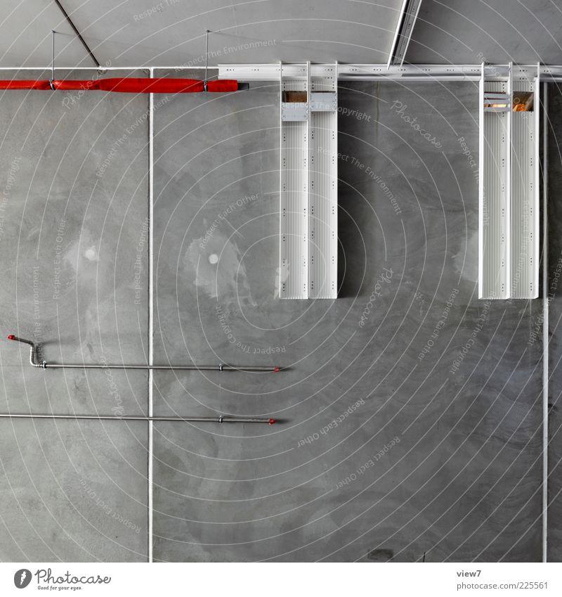 Kabel Kanal Innenarchitektur Raum Industrieanlage Mauer Wand Fassade Stein Beton Zeichen Linie Streifen modern neu oben anstrengen elegant Rohrleitung Anschluss
