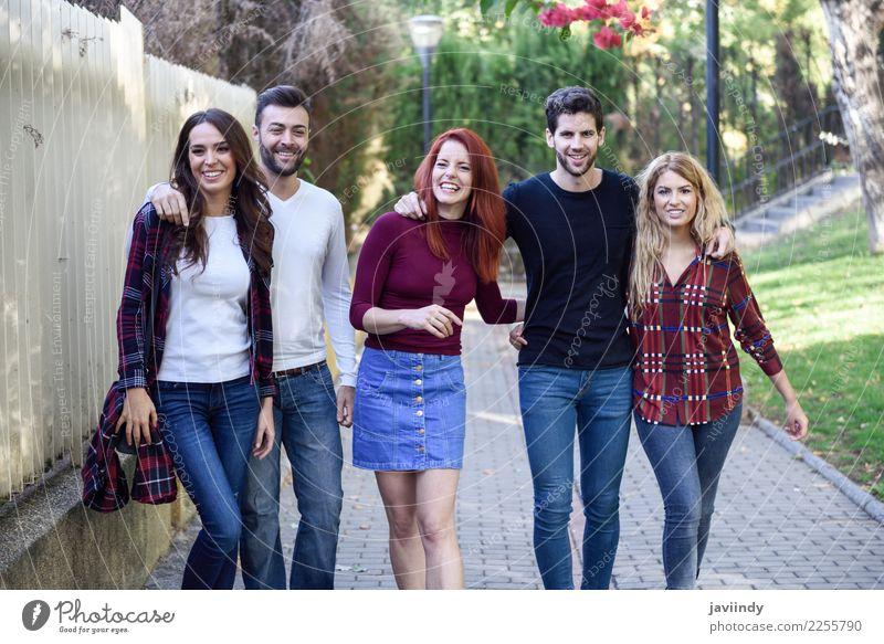 Gruppe Studenten zusammen draußen im städtischen Hintergrund Lifestyle Freude Glück schön Mensch maskulin feminin Junge Frau Jugendliche Junger Mann Erwachsene