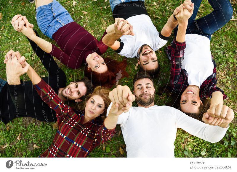 Frauen und Männer liegen im Gras und tragen legere Kleidung. Lifestyle Freude Mensch maskulin feminin Junge Frau Jugendliche Junger Mann Erwachsene Freundschaft
