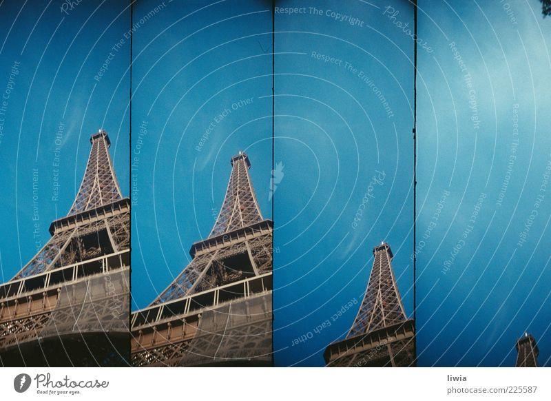 paris.paris.paris.paris Hauptstadt Bauwerk Architektur Tour d'Eiffel Hoffnung Zukunft Paris Blauer Himmel Streifen Stahlträger hoch Menschenleer Farbfoto