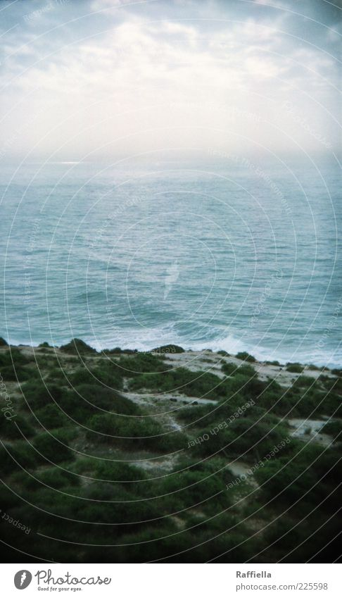 überleben und gefühle haben Natur Landschaft Wasser Wolken Pflanze Gras Sträucher Wellen frisch blau grau Sand Meer Ferne Aussicht ruhig Marokko Farbfoto