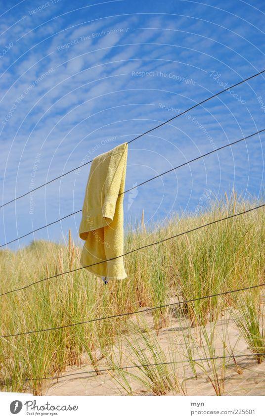 Urlaub Himmel Natur blau grün Ferien & Urlaub & Reisen Sommer Strand Wolken ruhig gelb Sand Glück Ausflug Tourismus Schönes Wetter Düne