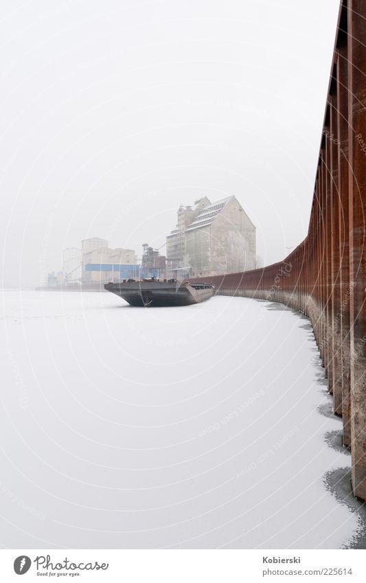 Alberner Hafen Wasser Winter Nebel Eis Frost Schnee Flussufer Donau Menschenleer Güterverkehr & Logistik Frachter Binnenschifffahrt Containerschiff Stahl Rost
