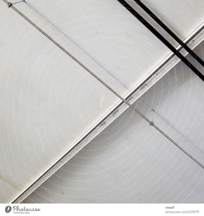 geschlossen Mauer Wand Fassade Beton Metall Linie Streifen dünn einfach frisch modern positiv weiß beweglich Ordnungsliebe Beginn anstrengen Röhren Montage