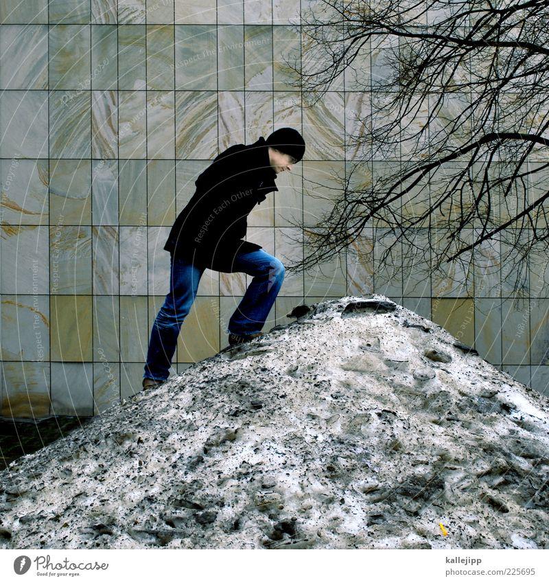 dow jones Mensch maskulin Mann Erwachsene 1 30-45 Jahre Winter Klima Eis Frost Schnee Baum Mauer Wand Blick Hügel aufsteigen Klettern Raster Mütze Mantel