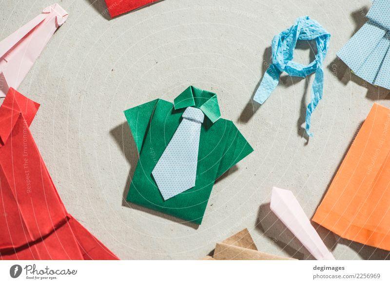 Viele Kleidung Origami Frau blau schön weiß Erwachsene natürlich klein Kunst Mode Design retro Dekoration & Verzierung Bekleidung kaufen Papier