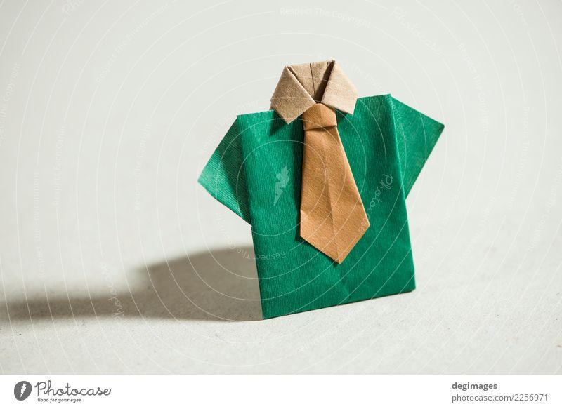Hemdorigami über Weiß kaufen Stil Design Dekoration & Verzierung Business Mann Erwachsene Kunst Bekleidung Kleid Stoff Krawatte Papier grün weiß Origami