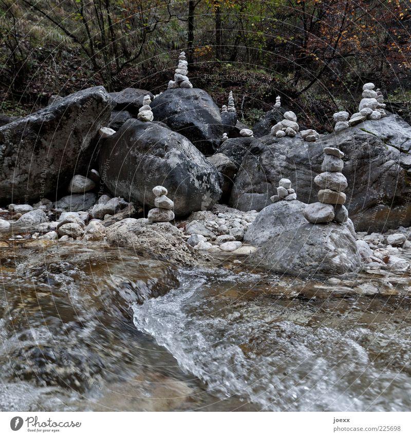 Gedenkstein Natur Wasser Sträucher Flussufer Stein alt Flüssigkeit nass braun Stimmung geheimnisvoll rein Stapel Bach Bachufer Steinhaufen Steinstapel Farbfoto