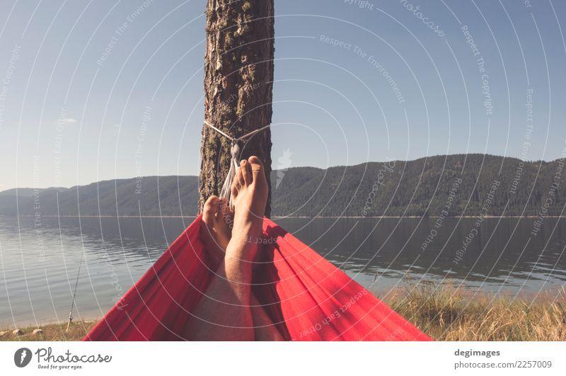 Mann in der Hängematte auf Gebirgssee Lifestyle Glück Erholung Ferien & Urlaub & Reisen Camping Sommer Berge u. Gebirge Mensch Junge Erwachsene Natur Baum See