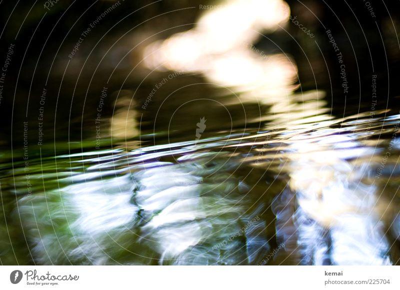 Wasser und Licht Umwelt Natur Sonnenlicht Sommer Schönes Wetter Bach Fluss dunkel nass fließen Wellen Wasseroberfläche Farbfoto Gedeckte Farben Außenaufnahme