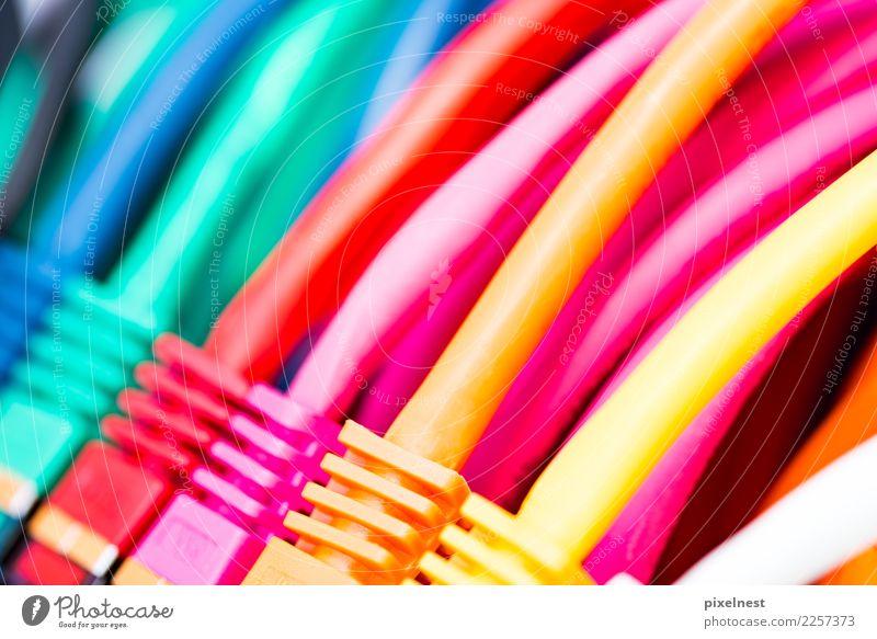 Bunte Netzwerkkabel Büro Telekommunikation sprechen Informationstechnologie Internet Provider Computer Hardware Kabel Technik & Technologie Kommunizieren gelb