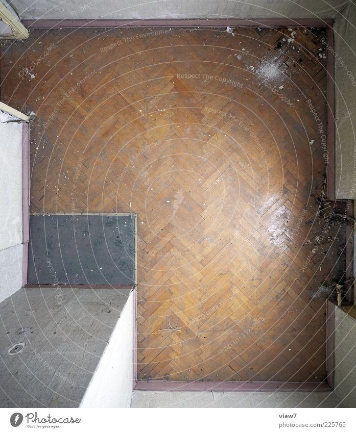 Fischgräte Raum Holz Linie Streifen alt dreckig dunkel einfach elegant oben braun Design Ordnung Perspektive Ferne Vergangenheit Vergänglichkeit
