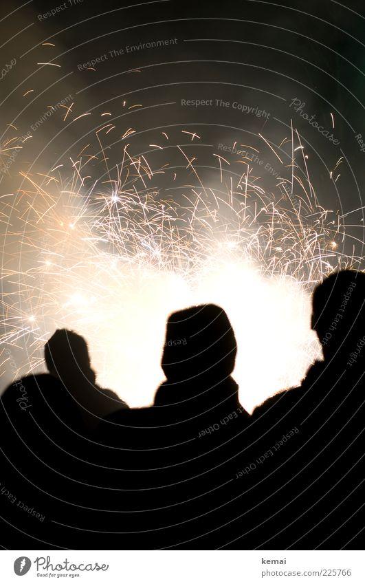 {400} Kleines Feuerwerk Wunderkerze Feste & Feiern Silvester u. Neujahr Mensch Leben 3 dunkel hell Freude Funken brennen Party Farbfoto Gedeckte Farben