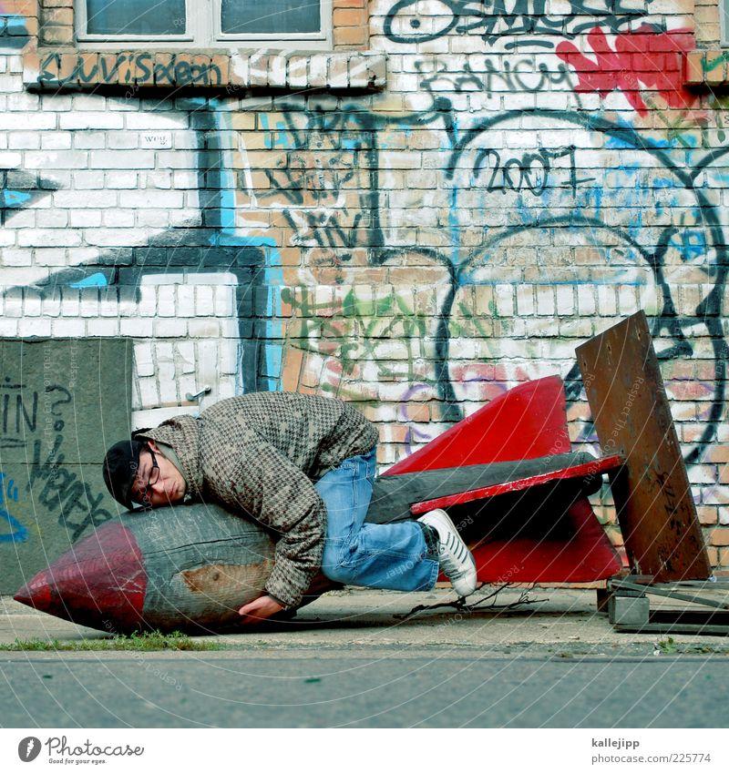 highkacking mit AllzweckJack Mensch Mann Freude Erwachsene Fenster Wand Graffiti Kunst Angst sitzen Fassade maskulin Asphalt Wissenschaften Humor Vorsicht