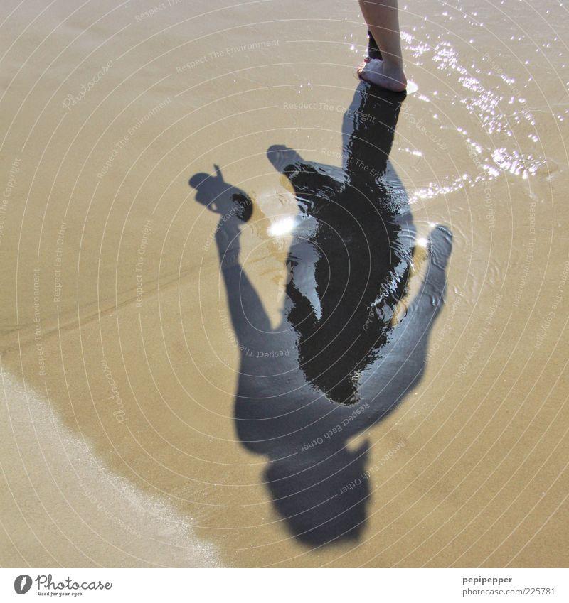 relaxt Erholung Sommer Sommerurlaub 1 Mensch Sand Wasser Strand Flipflops laufen Gedeckte Farben Außenaufnahme Detailaufnahme Tag Schatten Silhouette