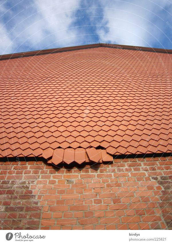 Schindler`s Piste Handwerk Bauwerk Gebäude Mauer Wand Fassade Giebelseite hängen alt hoch kaputt neu viele blau braun rot Symmetrie Verfall Dachziegel Schiefer