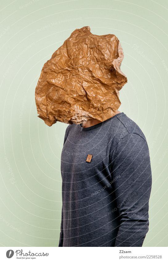 IDENTITY Lifestyle elegant Stil maskulin Junger Mann Jugendliche 18-30 Jahre Erwachsene Blatt Mode Pullover Maske Papier stehen Coolness einfach trendy modern