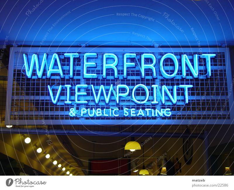 waterfront Seattle Neonlicht Nordamerika Schilder & Markierungen Aussicht Küste