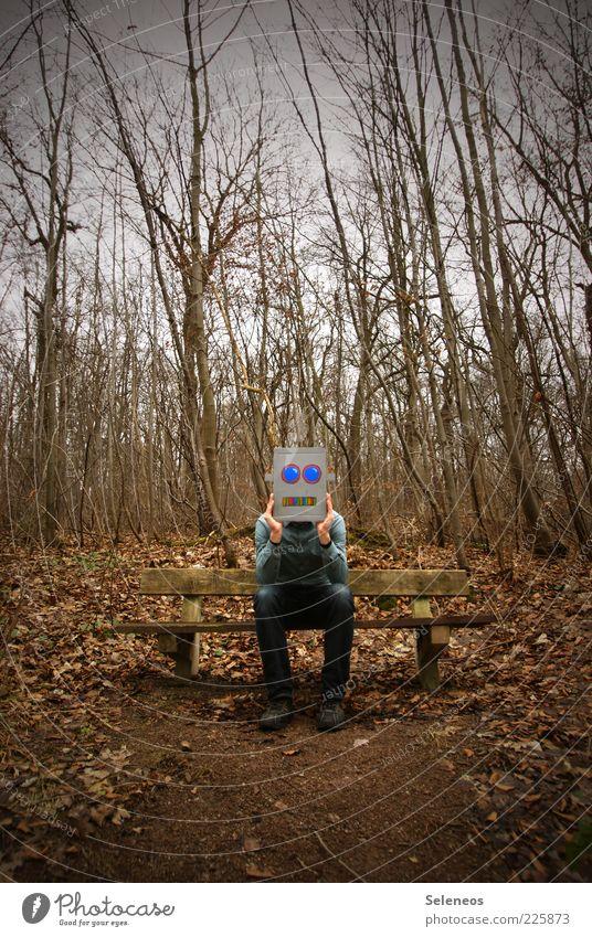 noch n Robbi! Mensch Herbst Baum Wald sitzen warten Einsamkeit Langeweile skurril Roboter Karton Farbfoto Außenaufnahme Tag Licht Ganzkörperaufnahme