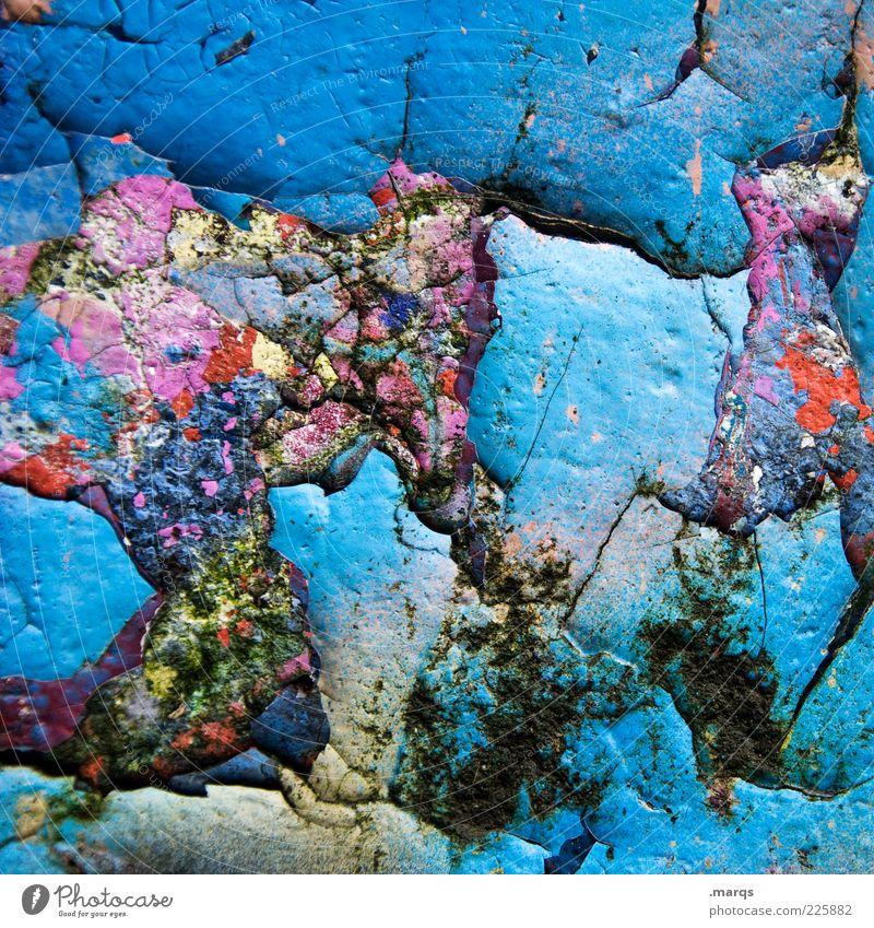 Blau machen Farbe Wand Stil Mauer Farbstoff dreckig Beton außergewöhnlich trashig skurril chaotisch Subkultur Strukturen & Formen mehrfarbig