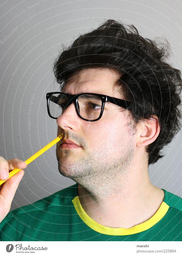 der Denker Stil Mensch maskulin Mann Erwachsene Kopf 1 Accessoire Brille brünett Locken Bart Denken Student lernen Gedanke Bleistift strubbelig Körperhaltung