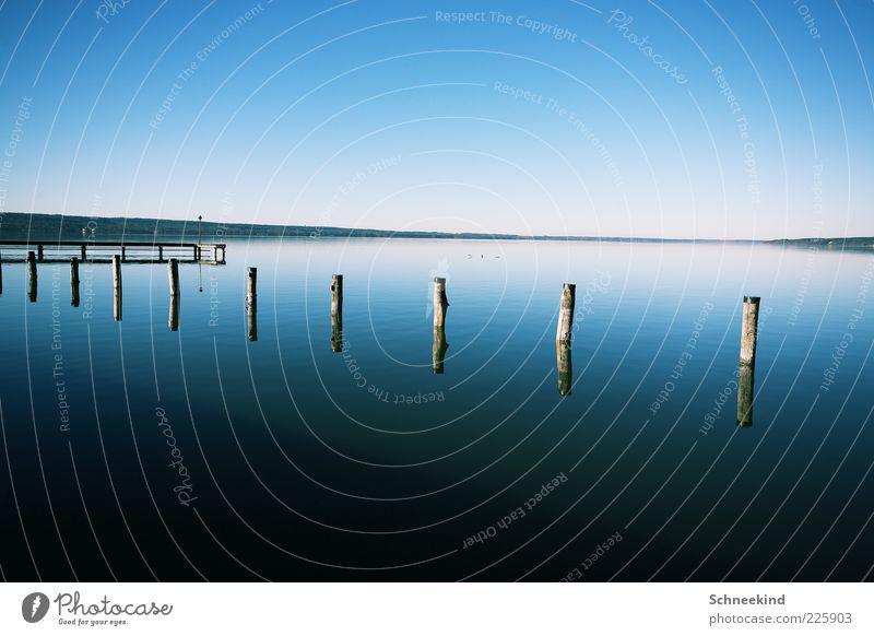 Draussen am See Umwelt Natur Landschaft Wasser Himmel Wolkenloser Himmel Horizont Schönes Wetter Küste Seeufer genießen Erholung Steg Aussicht blau Holzstab