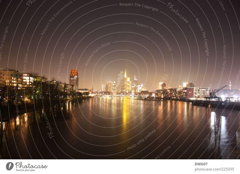Skyline Frankfurt Lifestyle Reichtum Nachtleben Wasser Himmel Wolkenloser Himmel Nachthimmel Stern Horizont Sommer Winter Wellen Fluss Main Stadt Stadtzentrum