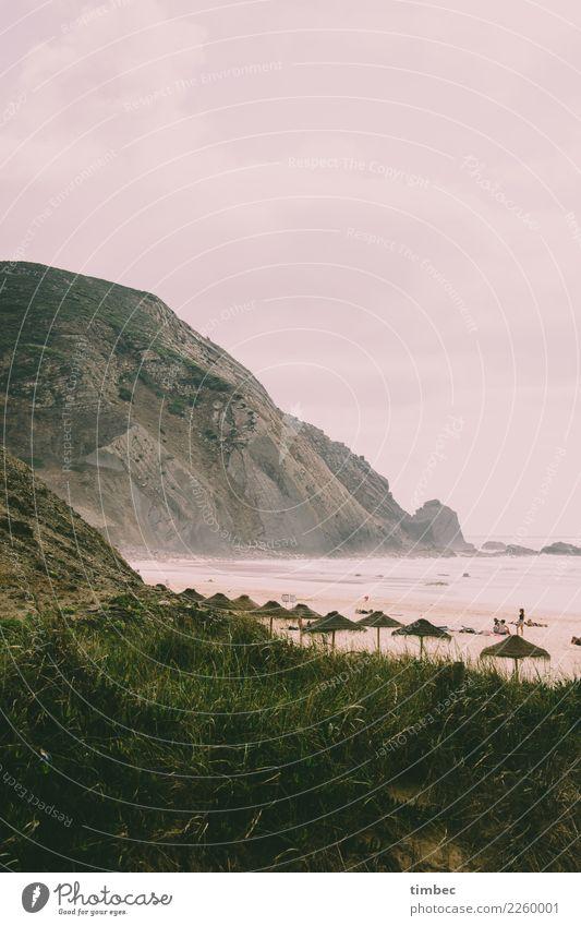 Klippen am Surfstrand in Portugal Landschaft Sand Wasser Himmel Wolken Sommer Herbst Wind Gras Berge u. Gebirge Küste Strand Meer außergewöhnlich bedrohlich