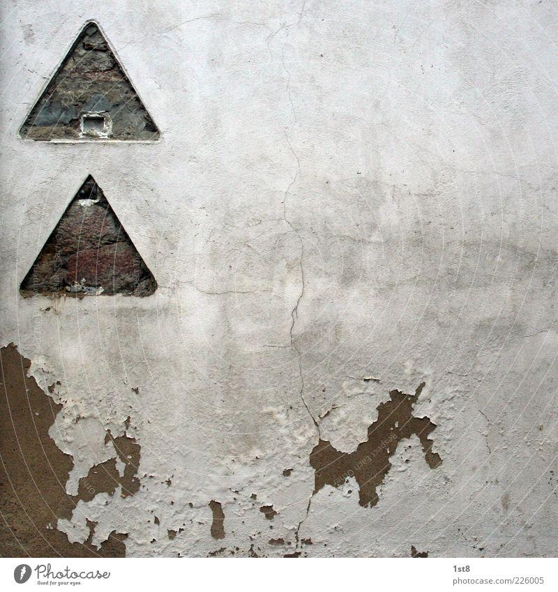 Achtung! Freilaufender Hund! blau weiß Wand Mauer lustig Fassade verrückt authentisch Zukunft trist einzigartig verfallen entdecken Putz Phantasie Identität