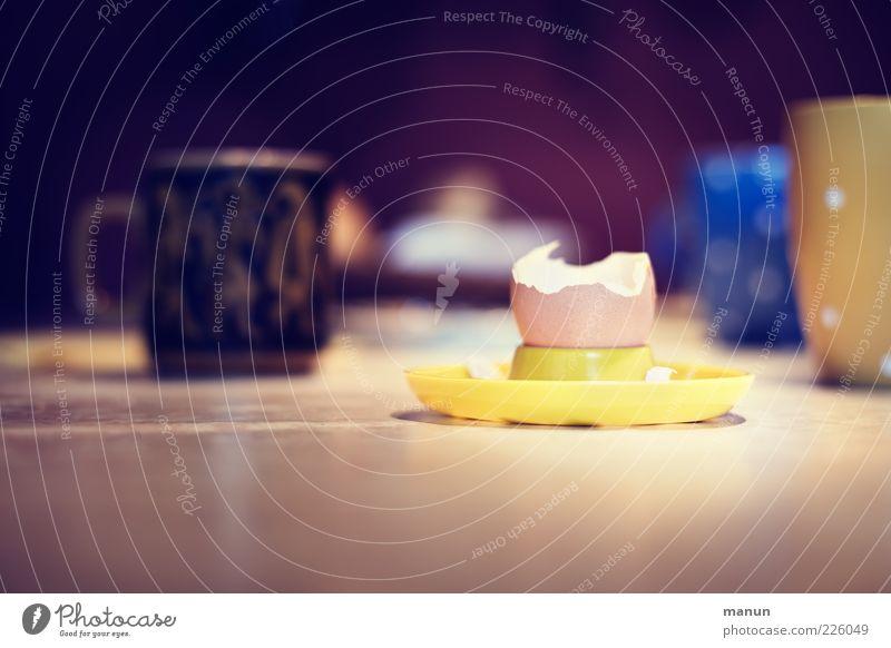 Ei Lebensmittel leer Ernährung einfach Geschirr Tasse Frühstück lecker Teller Ei Bioprodukte Becher Qualität Tischplatte Dinge gefräßig