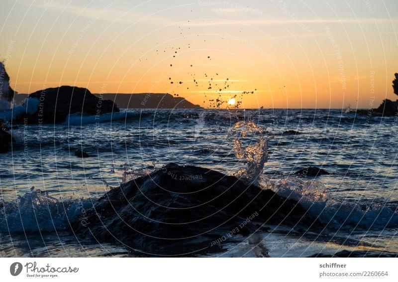 zeitlos | Gezeiten Natur Sonnenaufgang Sonnenuntergang Sonnenlicht Schönes Wetter Felsen Wellen Küste Bucht Meer blau gelb orange schwarz besinnlich ruhig Abend