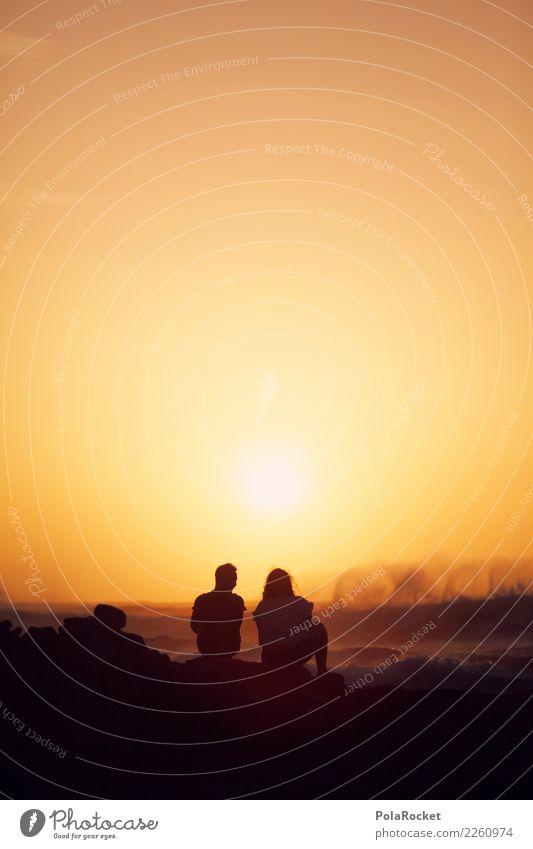 #AS# Weitblick Himmel Natur Meer Ferne Umwelt Liebe Paar orange Zusammensein Horizont Wellen ästhetisch Zukunft Romantik Trauer Sommerurlaub