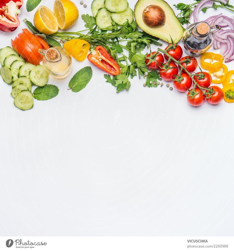 Frische Gemüse Zutaten für Salat Gesunde Ernährung Foodfotografie gelb Gesundheit Hintergrundbild Stil Lebensmittel Design Bioprodukte Restaurant Diät